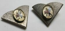 Vintage Two Silver Tone Textured Oval Triangle Dancing Western Collar Tips