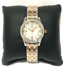 FOSSIL OLIVE BQ1424 LADIES CRYSTALS ROSE GOLD FACE STEEL CASE BRACELET CASUAL