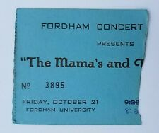 1966 RARE The Mama's and the Papa's Ticket-Fordham University Oct 21,1966 stub