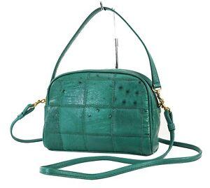 Genuine Green Ostrich Leather 2-Way Shoulder Clutch Bag Purse #38540D