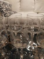 Set 8 Large Etched Crystal Wine or Water Glasses Wheat Motif