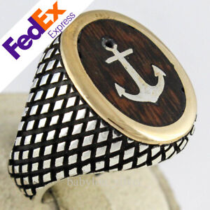 Natural Snake wood 925 Sterling Silver Turkish Handmade Anchor Men Ring All Size