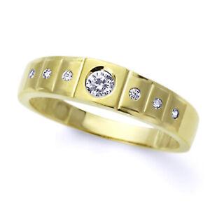 Men 14K Yellow Gold CZ Flat Top Seven Stone Wedding Band Ring / Free Gift Box
