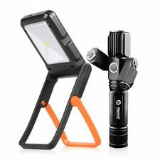 Zoomable 500m Rechargeable Flashlight Torch & Portable Solar Camping Light Kit,