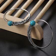 Vintage 925 Silver Turquoise Capricorn Hoop Earrings Stud Ear Charm Jewelry