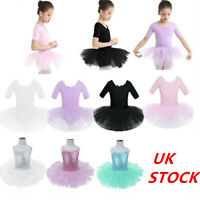 UK Girls Ballet Tutu Dress Gym Dance Leotard Kids Tulle Skirts Dancewear Costume