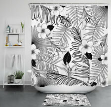 Sketch Flower Tropical Palm Leaves Waterproof Polyester Shower Curtain Set 72""
