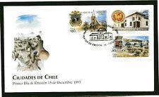 Chile 1993 FDC Chilean Cities Curico, Rancagua & Ancud