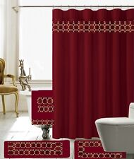 18 Piece Charlton Embroidery Banded Shower Curtain Bath Set (Burgundy)