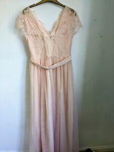 Little Mistress Lace Mesh Cap Sleeve Peach Bridesmaid Dress Size 12