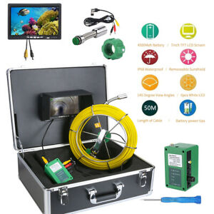 """50M Waterproof Drain Pipe Sewer Inspection Camera System 7"""" LCD 1000 TVL Camera"""