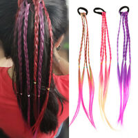Colorful Kids Adults Twist Braid Hair Extension Ponytail Headband Rubber Bands..