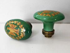 Ancienne Paire de Poignée en Porcelaine de Limoges Bouton de Porte Motif Aigle