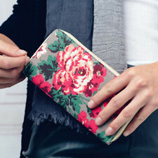 New Ladies Lovely Flower Print Purse with a Grey Background  Great Gift Idea