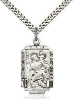 Mens Saint St Christopher Medal 925 Sterling Silver Pendant Chain Medal Necklace