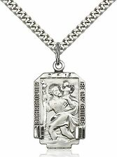 Mens Saint St. Christopher Medal 925 Sterling Silver Pendant Chain Necklace