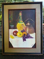 """IMPRESSIONIST Still Life Oil Painting on CANVAS signed """"MILLER 72"""" 14x18 FRAME"""