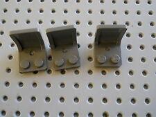 LEGO ~ lot of 3 ~ Dark Bluish Gray Minifigure Utensil Seats 2 x 2