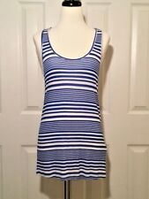 LUCKY LOTUS - LUCKY BRAND Women's Blue Striped Knotted Back Tank Top NEW Size S