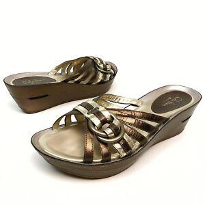✅❤️✅$ Cole Haan NikeAir Women's Wedge Platform Sandals 9 B Leather Gold Slides