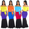 Women Boat Neck Half Sleeves Colors Patchwork Belt Bodycon Cocktail Maxi Dress