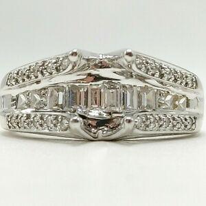 14K White Gold Ring Semi-Mount - Setting - CZ Accent Stones - Size 8