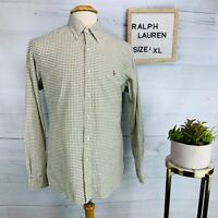 Ralph Lauren Mens Shirt Custom Fit Blue Yellow Graph Plaid Long Sleeve Size XL