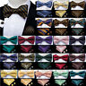 Classic Mens Silk Bow Tie Adjustable Paisley Striped Self Pretied Bowtie Necktie