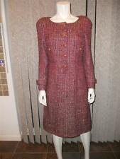 CHANEL Pre-Fall 12A Runway Fantasy Tweed Dk Red Dress Jewel Buttons 38 FR $6545