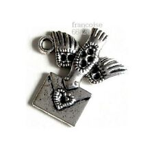 B447// LOT DE 2 BRELOQUES CHARMS PERLES / OISEAU MESSAGE / CREATION BIJOUX BRACE