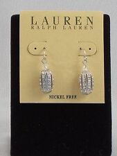 Ralph Lauren Silver Nickel Free Rhinestone Pave Openwork Oval Drop Earrings $36