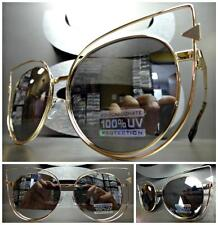 OVERSIZED VINTAGE RETRO CAT EYE Style SUN GLASSES Gold Frame Chrome Mirror Lens