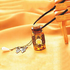 Wishing Bottle Flower Butterfly Pendant Long Leather Chain Sweater Necklace Gift