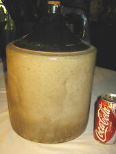 ANTIQUE COUNTRY PRIMITIVE EMBOSSED C. 1882 LG. STONEWARE WHISKY STORE JUG CROCK