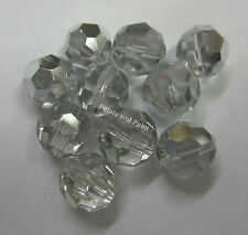 10 x Faceted Silver Glass Mirror Round 10mm Beads For Beading & Jewellery MGB101