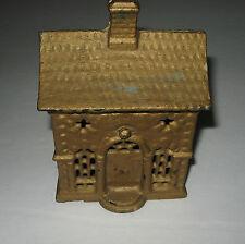 Antique Figural Cast Iron Metal Building Coin Money Still Roof Bank