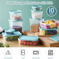 10x/set Plastic Food Storage Container Fruit Vegetable For Microwave & Reusable