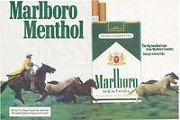 Marlboro Menthol 2 Page Ad Cowboy Horses Vintage 1982 Print Advertising