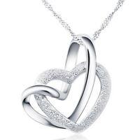 Damen Herz Elegant Weiß Doppel Herz Silber Kristall Kreativ eNwrg