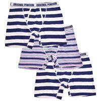 Original Penguin Men's 3 Pack Stripe Navy White Blue Pink Boxer Briefs (S04)