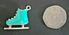 Ice-skate pendant, aqua/blue enamel with diamante