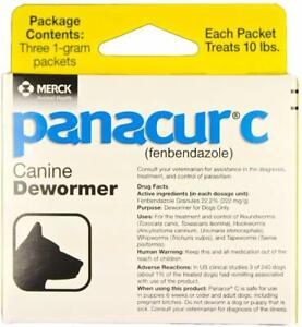 Panacur C Canine Dewormer Treatment Three 1-Gram Packets, Each Packet Treats ...
