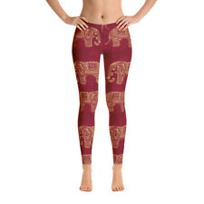 Gold and Red Elephant Paisley Indian Henna All-Over Print Leggings