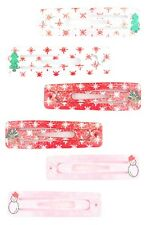 Zest 6 Pack Christmas Sleepie Hair Clips Tree Snowman Rudolph White Pink & Red