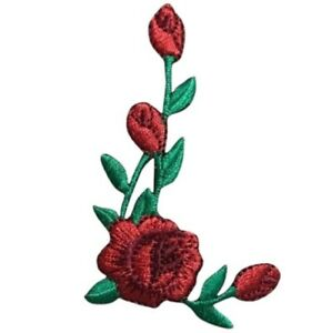 """Red Rose Applique Patch - Facing Right, Flower Bloom Badge 2-3/8"""" (Iron on)"""