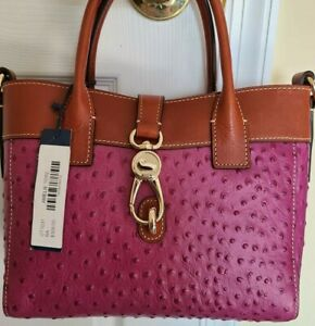 Dooney & Bourke Amelie Large Pink Ostrich Embossed & Tan Smooth Leather Tote NWT