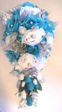 17 pc Wedding Bouquet Bridal Silk flowers TURQUOISE SILVER GRAY Package bouquets