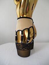 X Small Gold Lycra 10 Strap Designer Retro Style Suspender Belt 24-26 Inch Waist
