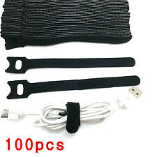 100X Reusable Nylon Wire Hook Loop Organiser Black Cable Ties Wrap Tidy Straps