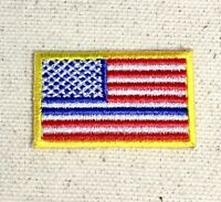 "Small 1.5"" American Flag Yellow - Thin Blue Line Iron on Embroidered Patch"